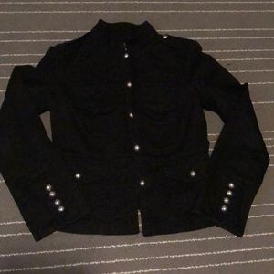 Edgy Black Jacket with Metal Buttons Accents